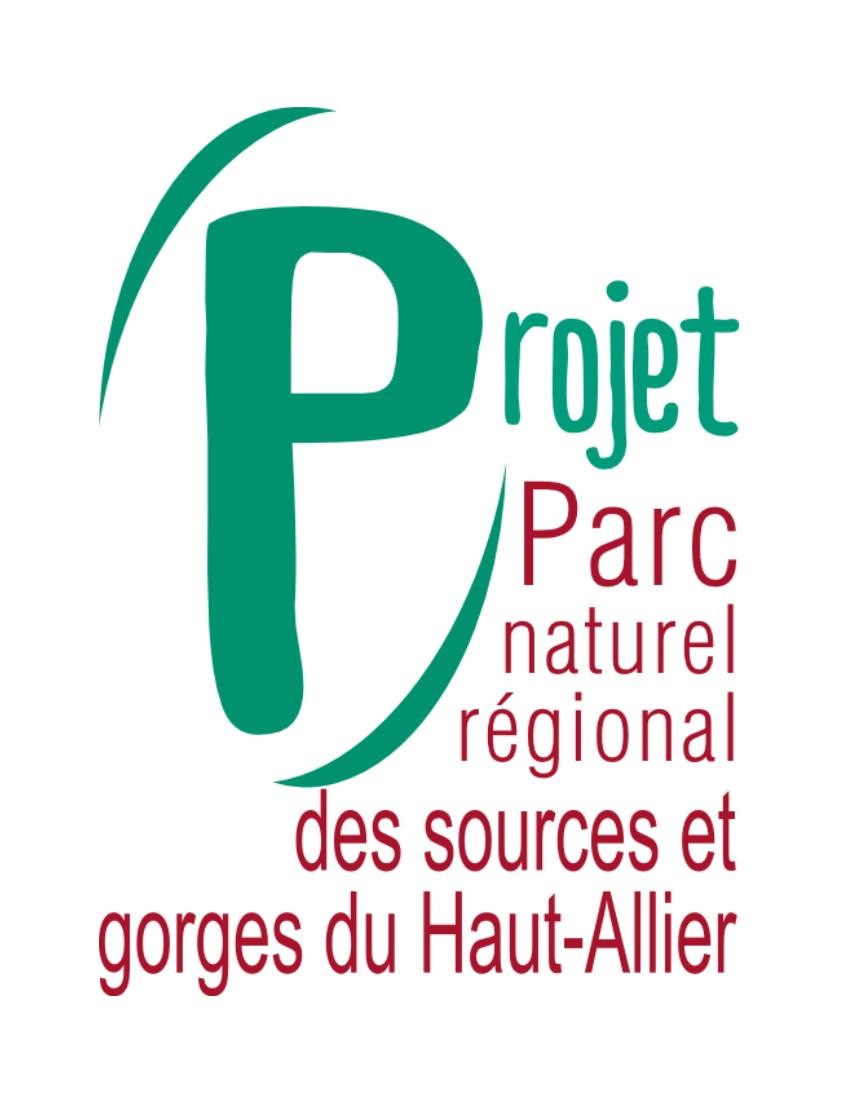 Logo vert et rouge du Parc naturel régional des sources et gorges du Haut-Allier